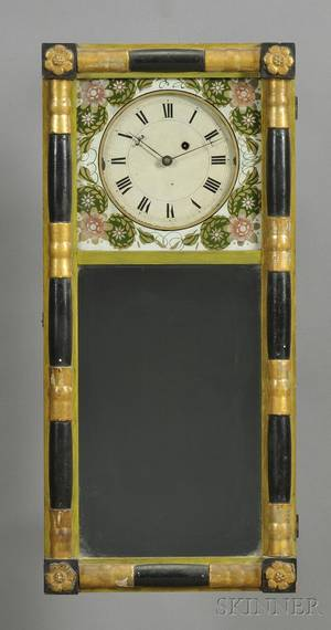 New Hampshire Mirror Clock Attributed to Samuel Abbott