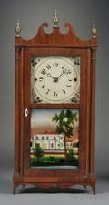 Erastus Hodges Mahogany Pillar and Scroll Shelf Clock