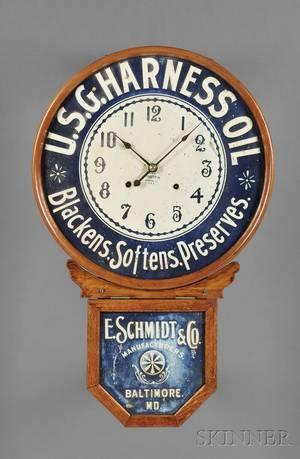 Oak Advertising Wall Clock by the Baird Clock Company