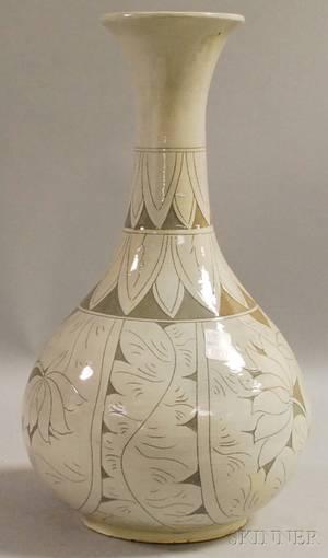 Korean Ceramic Vase with Incised Decoration