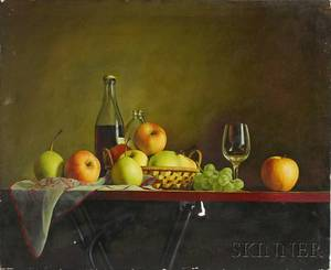 20th Century Asian School Oil on Canvas Still Life with Fruit and Wine