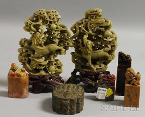Four Asian Carved Soapstone Seals Two Carved Jade and Soapstone Figurals and a Small Metal Box