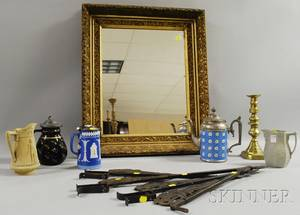 Victorian Giltgesso Framed Mirror a Set of Four Painted Iron Curtain Rods a Brass Candlestick Four Ceramic Jugs and a Coffeepot