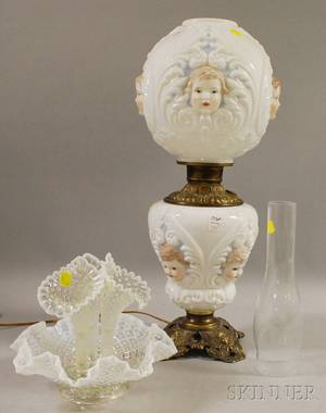 Late Victorian Painted Cherub Mask Molded Opaque Glass and Brass GonewiththeWind Table Lamp and a Victorianstyle Opalescent Mold