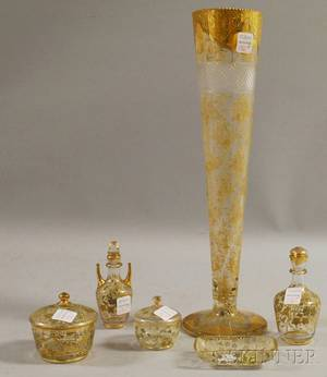 Fivepiece Austrian Gilt and Enameled Colorless Glass Partial Vanity Set and a Tall Gilt Enameled Colorless Cut Glass Trumpet Vase