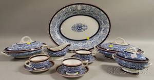 Elevenpiece Royal Worcester Blue and White Transferdecorated Porcelain Partial Dinner Set