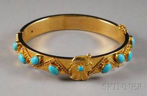 14kt Gold Gilt Silver and Turquoise Art Nouveaustyle Bangle