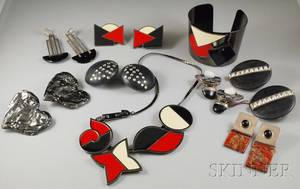 Group of Art Deco Revival and Designer Jewelry Items