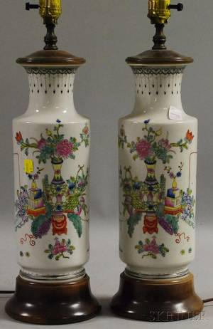 Pair of Chinese Famille Rose Porcelain VaseTable Lamps
