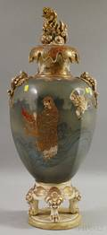 Large Japanese Satsuma Ceramic Footed Vase with Cover
