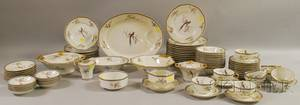 Approximately Eightypiece Theodore Haviland Limoges Transfer Paradise Pattern Porcelain Dinner Service
