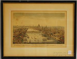 Framed Laurie  Whittle Handcolored Engraving View of the City of London Next the River Thames