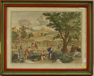 Framed N Poussin Handcolored Engraving Depicting a Biblical Scene with Ruth