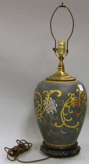 Chinese Enameldecorated Porcelain VaseTable Lamp