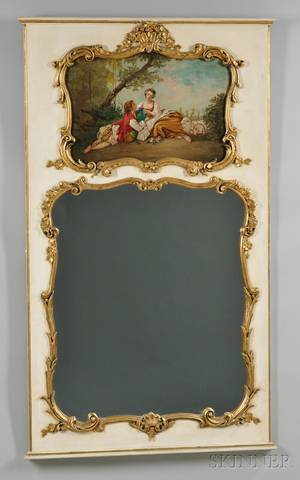 Louis XVstyle Gilt and Painted Gesso and Wood Trumeau Mirror