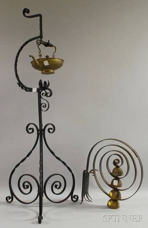 Wrought Iron Scrollwork Stand with Brass Hot Water Kettle and a Scrolling Wrought Iron Door Mount with Four Bells