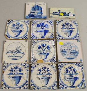 Ten Delft Blue and White Pottery Tiles and a Small Dutch Landscapedecorated Tile