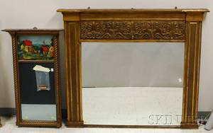 Empire Gilt and Painted Wood and Gesso Overmantel Mirror and a Goldpainted Federalstyle Tabernacle Mirror