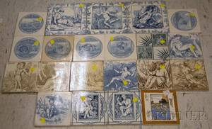 Twentyone Wedgwood Transferprinted Ceramic Tiles