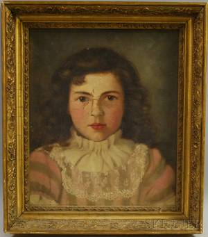 19th Century American School Oil on Canvas Portrait of a Girl with Lace Collar