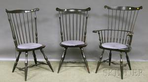 Set of Six Reproduction Windsor Fanback Dining Chairs