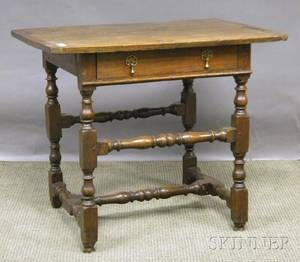 William  Mary Oak Breadboardtop Stretcherbase Table with Drawer