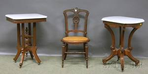 Two Victorian White Marbletop Carved Walnut Stands and a Side Chair