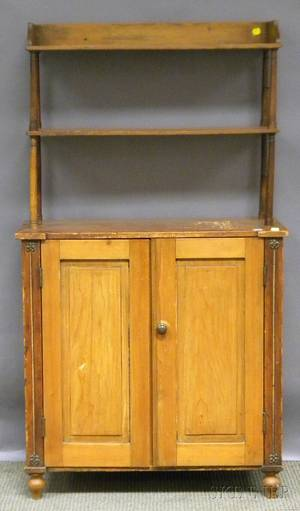 Small French Provincial Pine Side Cabinet with Shelves
