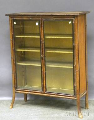 Victorian Partebonized Bamboo and Rattan Glazed Twodoor Book Cabinet