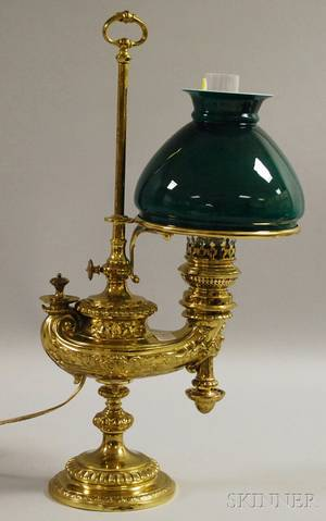 Wild  Wessel Adjustable Brass Aladdinstyle Student Lamp with Cased Green Glass Shade