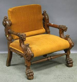 Victorian Renaissance Revival Upholstered Carved Walnut Armchair