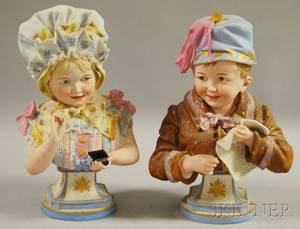 Pair of Painted Bisque Busts of a Boy with New York Herald Newspaper and a Girl with Snuff Box