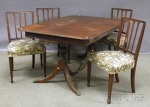 Federalstyle Mahogany Doublepedestal Dining Table and a Set of Four Upholstered Carved Mahogany Dining Chairs