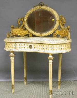 Louis XVIstyle Marbleinset Carved Giltwood and Painted Kidneyshaped Mirrored Dressing Table