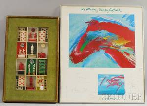 Framed Shadow Box with Carved Chess Pieces Playing Cards and Game Pieces and a Framed Peter Max Autographed Poster Kentucky Derby