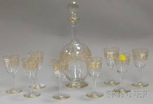 Ninepiece Late Victorian Gilt and Enameldecorated Colorless Glass Cordial Set