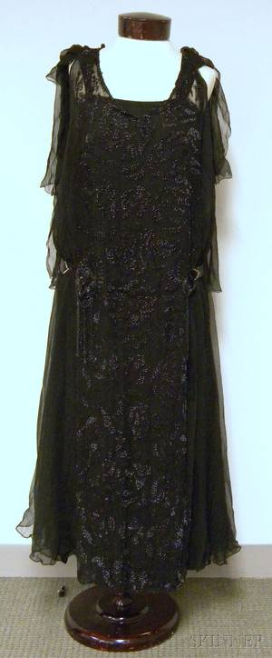 Circa 1920s Beaded Black Silk Dress