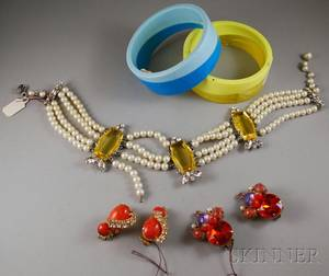 Five Pieces of Schiaparelli and Hattie Carnegie Costume Jewelry