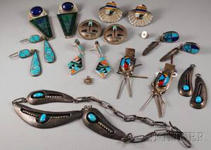 Eight Pairs of Southwestern and Mexican Sterling Silver Earrings and a Necklace