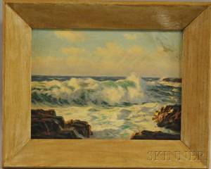 20th Century American School Oil on Panel Surf on the Rocks
