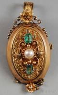 18kt Gold Gemset Locket PendantBrooch