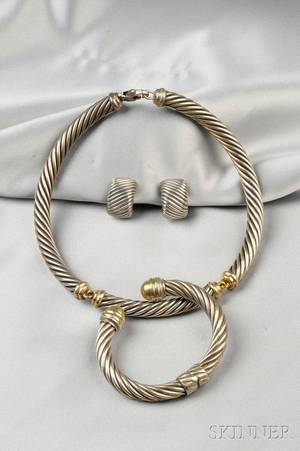Sterling Silver and 14kt Gold Cable Suite David Yurman