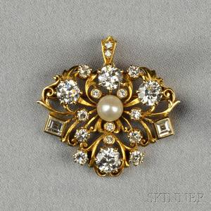 14kt Gold Cultured Pearl and Diamond PendantBrooch