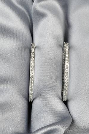 14kt White Gold and Diamond Hoop Earrings