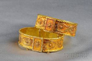 Pair of Antique HighKarat Gold Bracelets