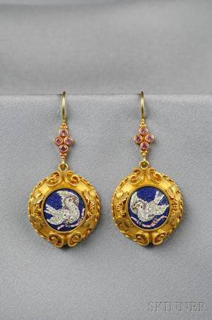 Antique 18kt Gold and Micromosaic Earpendants