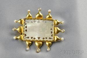 18kt Gold and Motherofpearl Scenic PendantBrooch Elizabeth Locke
