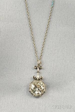 Art Deco Platinum and Diamond Solitaire Pendant