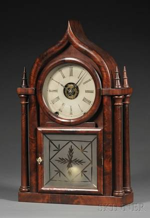 Mahogany Ogee Gothic Shelf Clock by Brewster and Ingrahams