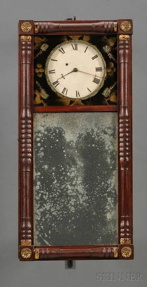 New Hampshire Mirror Clock Attributed to Benjamin Morrill